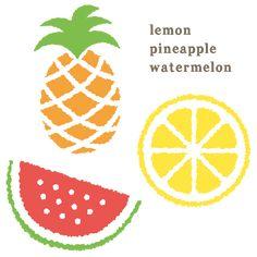 レモン・パイナップル・スイカのイラストです。ラフな手描き感がポイント。可愛くポップな雰囲気になりますよ!