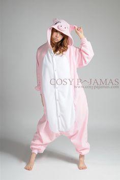 Pink Pig Fleece Animal Adult Onesie Kigurumi