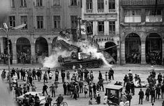 Some Random Historical Photographs - Some Random Historical Photographs - Soviet tank rams into a building - Warsaw Pact invasion in Czechoslovakia, 1968 Prague Spring, T 62, Warsaw Pact, Diorama, Marie Curie, Mahatma Gandhi, Historical Pictures, World History, Czech Republic