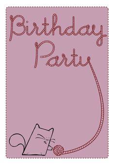 Birthday Party Cat - Free Printable Birthday Invitation Template   Greetings Island