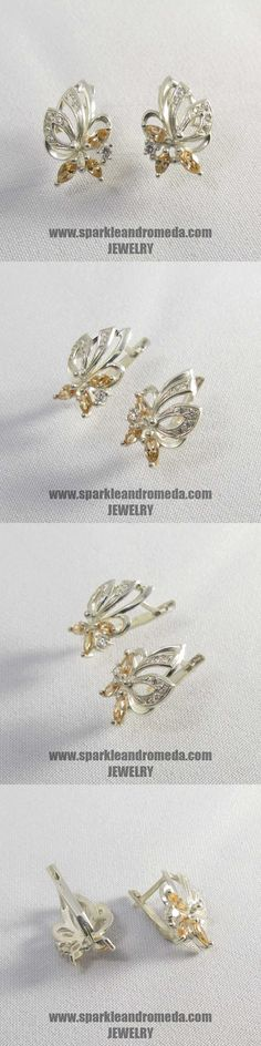 Sterling 925 silver earrings with 2 marquise mm and 4 marquise mm golden beryl color and 1 round mm 4 round mm and 8 round mm white color cubic zirconia gemstones. 925 Silver Earrings, Wedding Rings, Brooch, Engagement Rings, Gemstones, Handmade, Color, Jewelry, Brooch Pin