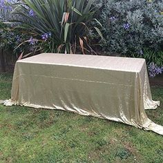 "B-COOL Matte Gold 90""x132"" rectangular sequin tablecloth Custom size and color table cloths"