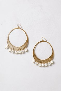 Cotton Pearl Hoops - Anthropologie.com