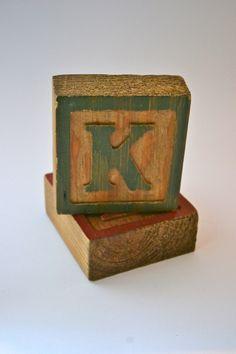 "Vintage Wooden Alphabet Block--Letter ""K"". $4.50, via Etsy."