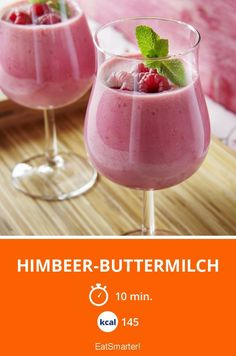 Raspberry buttermilk shake is an easy summer drink you can't miss: serve it with some mint and it will be even tastier! Summer Drinks, Cocktail Drinks, Cold Drinks, Alcoholic Drinks, Smoothie Drinks, Smoothie Bowl, Superfood Smoothies, Healthy Eating Tips, Healthy Recipes