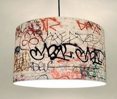 DIY Graffiti Pendent - I am sure IKEA or a reuse store has several suitable shades this could be tried on at low cost