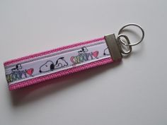 Handcrafted Multi-Color Snoopy Dog Pink Wristlet Key Chain Hand Lanyard Cartoon #Unbranded