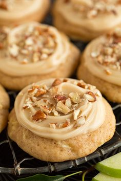Caramel Apple Cookies - these taste just like caramel apples! A soft apple cookie is topped with a delicious caramel frosting. I loved them with a little sea salt added on top. Cookie Desserts, Fall Desserts, Just Desserts, Dessert Recipes, Apple Recipes, Fall Recipes, Baking Recipes, Fall Cookie Recipes, Yummy Cookies