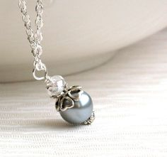 Light Gray Bridesmaids Gift Set Necklace by LaurinWedding on Etsy, $8.50