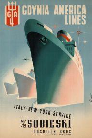Gdynia America Lines - Italy New York service MS Sobieski Cosulich.
