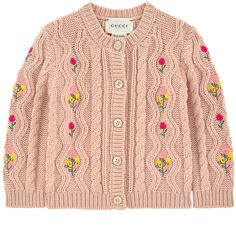 Wool cardigan Bande Web - Gucci Embroideries - Ideas of Gucci Embroideries - Embroidered cardigan Frock Fashion, Gucci Fashion, Fashion Brand, Baby Outfits, Kids Outfits, Gucci Baby Clothes, Kids Dress Wear, Baby Girl Shirts, Wool Cardigan