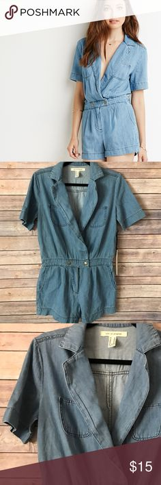 Light denim romper NWT Size xs , fits a small aswell. New with tags Shorts