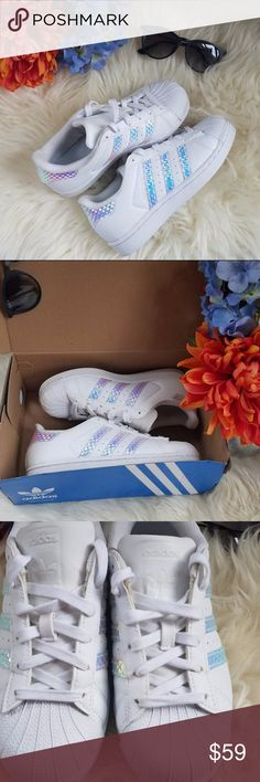 Adidas Superstar Iridescent Hologram Size 3.5Y Adidas Superstar Iridescent Hologram Size 3.5 Youth or 5.5 Womens. Worn twice, still not broken in, feels and looks new. Comes with original box adidas Shoes Sneakers
