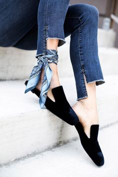 shoes and scarf with uneven cut jeans