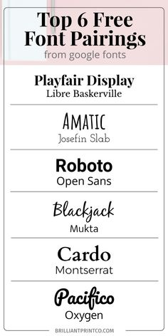 The Top Six free font pairings perfect for your blog or social media posts.