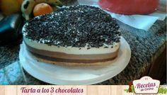 Tarta de 3 chocolates, riquísima para darnos una pequeña alegría