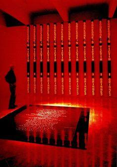 """The Venice Installation"" (1991) - Jenny Holzer LED signs, marble floor. Walker Art Center, Minneapolis, MN."