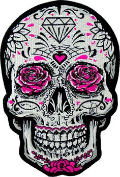 White Sugar Skull Pink Roses & Rhinestones, Women's Back Patches