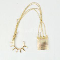 New Fashion Cool Rock Punk Chain Tassels Comb Hairpin Hair Clip Rivets Earring
