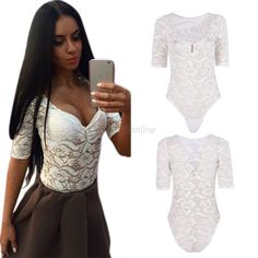 Fashion Women's Short Sleeve Stretch Bodysuit Sexy Lace Floral Leotard Body Tops #Unbranded #Romper