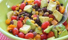 Corn Salsa Salad | Trader Joe's 1 lg Avocado, diced 1 jar TJ's Corn and Chile Tomato-less Salsa 1 can Black Beans, drained and rinsed Small cherry tomatoes 1/2  Orange Bell Pepper, diced TJ's Cilantro Salad Dressing Combine all in bowl, toss w dressing. Add S&P, to taste. Refrigerate for at least 1 hr.