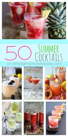 In the hot summer months there's nothing better than a cold cocktail, any time of day. Have some fun and get party started with these 50 Summer Cocktails! Summer Cocktails, Cocktail Drinks, Cocktail Recipes, Margarita Cocktail, Wine Cocktails, Sangria, Party Drinks, Fun Drinks, Beverages