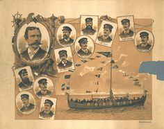 This a poster of the crew from the 1893 voyage of The Viking (a replica of the Gokstad ship) sent over from Norway for the World's Columbian Exposition in Chicago that year.  It is fragile and torn.