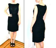60s Vintage Little Black Dress// Vintage Black Dress Size Medium