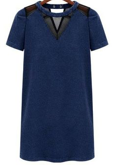 COOL COOL COOL!!!!  Navy Contrast Mesh Yoke Hollow Denim Dress US$20.79