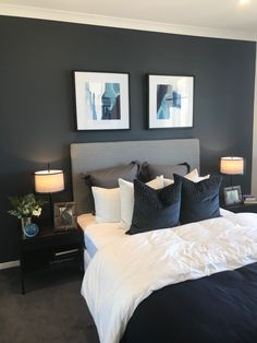 36 cozy blue master bedroom design ideas 17 in 2019 Bedroom Paint Colors Master, Home Bedroom, Gray Master Bedroom, Cool Bedroom Furniture, Bedroom Inspirations, Master Bedroom Paint, Blue Bedroom, Blue Master Bedroom, Bedroom Color Schemes