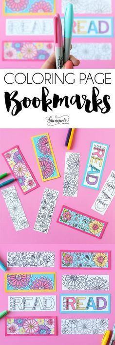 NEW! Summer Coloring Page Bookmarks   Color your own or grab the already colored printable version. Both downloads are free on the blog!   DawnNicoleDesigns.com