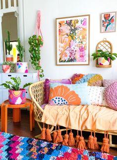 Boho Home Decor for Your Space - My Simpatico Life Colourful Living Room, Boho Living Room, Living Room Decor, Bedroom Decor, Bohemian Living, Bedroom Colors, Living Rooms, My New Room, Colorful Decor