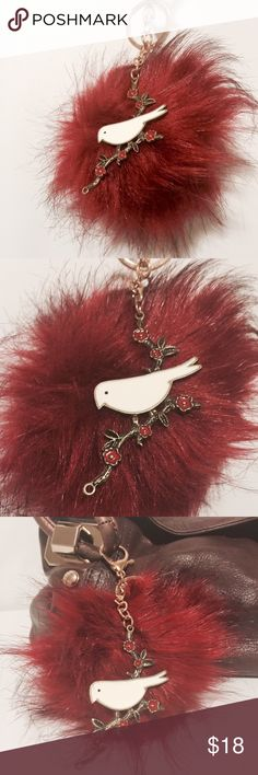 """🌀 Pom Pom & Jewelry Handbag/Key Chain - Red Accessorize to the next level! Red Pom Pom with 'antique gold' with enamel bird pendant, Featuring a classic key ring and a lobster claw closure in rose gold color finish for versatility. @7"""" Accessories Key & Card Holders"""