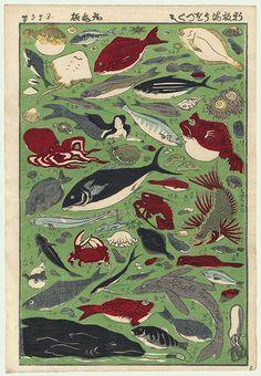 19th century Japanese Woodblock Print - Sea Life and Mermaid