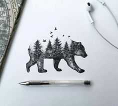 Image result for bear sketch style tattoo