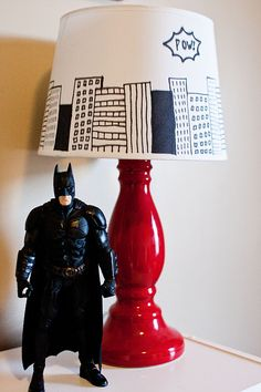 DIY superhero lamp shade + superhero playroom!