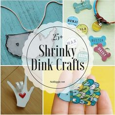 Make your own shrinky dink crafts at home to re-live the best craft around! Crafts To Make, Fun Crafts, Crafts For Kids, Paper Crafts, Camping Crafts, Shrinky Dinks, Shrink Plastic Jewelry, Shrink Art, Shrink Film