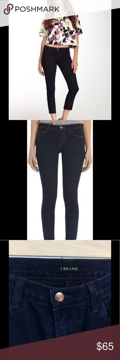 """J Brand Mid-Rise Cropped Rail Jean in Ink J Brand Mid-Rise Cropped Rail Jean in Ink.  Size 26; 14"""" wide, 8"""" rise, 26"""" inseam. 77% cotton, 21% polyester, 2% elastane. Slim straight fit that stops just above the ankle.  Super soft fabric, pants in good used condition, though they have some fabric pull through the crotch region (last picture). J Brand Pants Ankle & Cropped"""