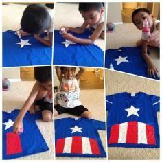 DIY Captain America Kiddy Shirt DIY Halloween - Visit to grab an amazing super hero shirt now on sale!