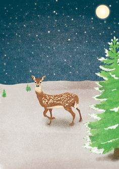 Holiday greeting cards made by Irma Velkovska (me) in collaboration with writer Aneta Popova. Each story is visually framed into a notelet, evoking your imagination to come to life More on: https://www.behance.net/gallery/22372487/Happy-Holidays #Holidays #HappyNewYear #Fawn #Doe #Christmas #Postcards #GreetingCards #Winter #Snow #Magic #Tales #Deer #Pine #Landscape #Stars #Sky #Moon