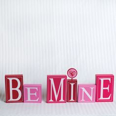 BE MINE - wood block set, Valentine's Day decorations #adamsandco #Krumpets