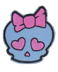 So Cute!!! Large Skull Patch with Bow. Grab it here -} http://bumpandbunny.com/products/large-skull-patch-with-bow