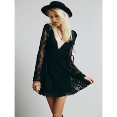 Free People Reign Over Me Lace Dress ($128) ❤ liked on Polyvore featuring dresses, vestidos, blue dress, short lace dress, embroidered dress, see through dress and sheer dress