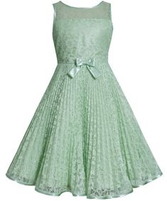 * TWEEN GIRLS 7-16 * Sage-Green Lace Sunburst Pleat Illusion Neckline Dress SG4MB Bonnie Jean Tween Girls Special Occasion Flower Girl Holiday BNJ Social Dress, Sage Bonnie Jean,http://www.amazon.com/dp/B00KGMRA3M/ref=cm_sw_r_pi_dp_vvcFtb040GWDKZ28