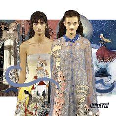 """A detalhada coleção de alta costura da Fendi teve como principal inspiração o livro de contos de fada """"East of the sun, West of the moon"""" e roupas dignas de princesas. Cheia de padrões figurativos e fantasiosos, a coleção comemorou os 90 anos da marca. #velotrol #velotroldesign #estampas #print #estampariadigital #estampaexclusiva #surfacedesgin #design #ilustracao #moda #fashion #vestuario"""
