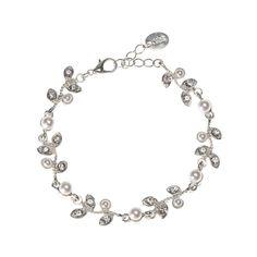 Pearl and Crystal Rose Leaf Bracelet