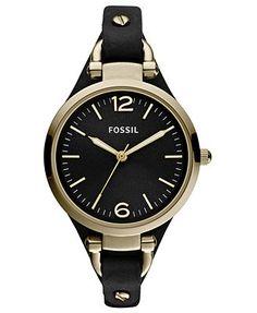 Fossil Watch, Women's Georgia Black Leather Strap 32mm ES3148