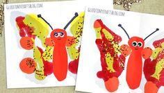Autumn Paint Splat Butterflies w/free template