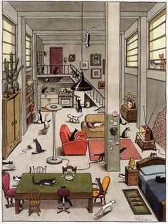 A1 - ¿Dónde están los gatos? Encima de, detrás de.., frente a..., al lado de... ¿Y qué están haciendo? (Ilustración dei italiano Franco Matticchio)