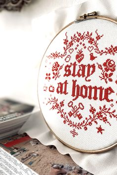 STAY AT HOME cross stitch kit, modern embroidery kit, quotes with flowers cute animals, easy cross stitch chart, beginner xstitch design kit Please stay at home & wash your hands. Stay safe & Care for your loved ones and for people in need. Easy Cross, Simple Cross Stitch, Modern Embroidery, Embroidery Kits, Dmc 2, Cross Stitch Quotes, Stay At Home, Stitch Kit, Stay Safe